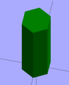 An extruded hexagon.