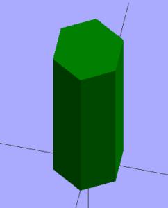 An extruded hexagon.